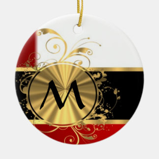 Red white and gold monogram Double-Sided ceramic round christmas ornament