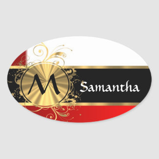 Red white and gold monogram oval sticker