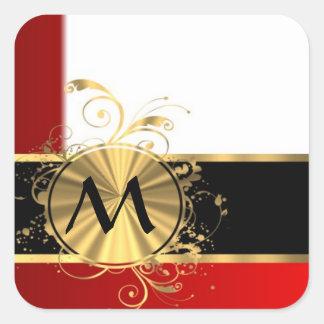 Red white and gold monogram square sticker