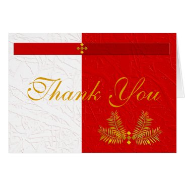 Professional Business Red White and Gold Thank You with Palm Leaves Card