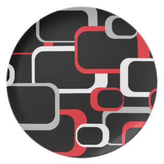 Red White and Gray Retro Square Plate