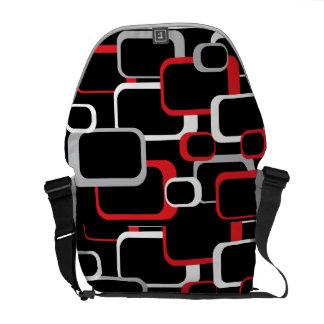 Red White and Gray Retro Square  Rickshaw Messenge Messenger Bag