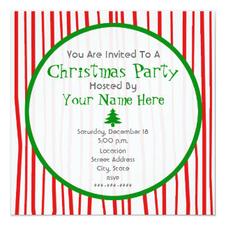 Red White And Green Christmas Party Invitation