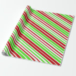 [ Thumbnail: Red, White and Green Christmas Stripes/Lines Wrapping Paper ]