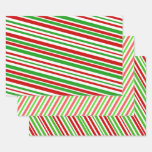 [ Thumbnail: Red, White and Green Christmas-Themed Stripes Wrapping Paper Sheets ]