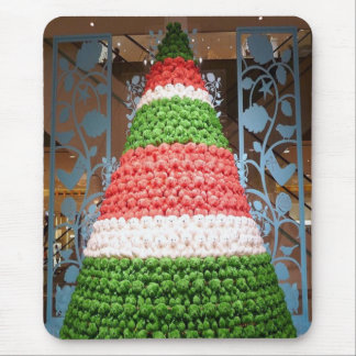 Red white and green Christmas tree Mouse Pad