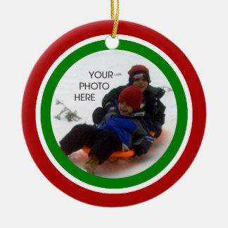 Red, White, and Green Christmas - Two Sided Ceramic Ornament