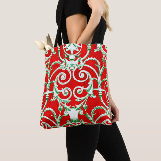 Red White and Green Damask Tote Bag