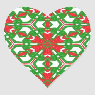 Red, White and Green Kaleidoscopes 3373 Heart Sticker