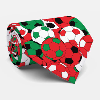 Red, White and Green Soccer Ball Collage Neck Tie