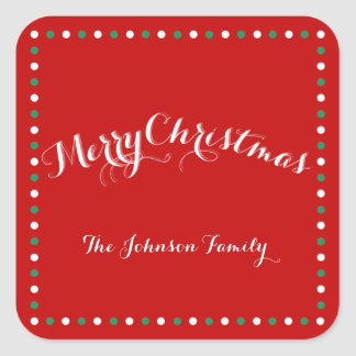 Red, White And Green Square Christmas Stickers