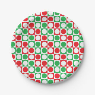 Red, White and Green Squares and Polka Dots Paper Plate
