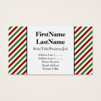 Red, White and Green Stripes Business Card