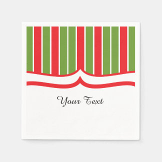 Red, White and Green Stripes Paper Napkin