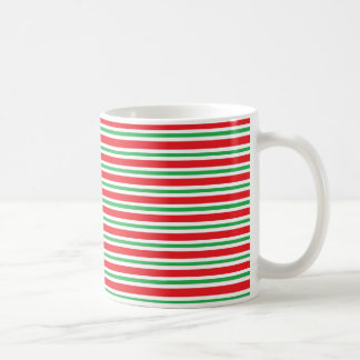 Red, White and Green Thick and Thin Stripes Coffee Mug