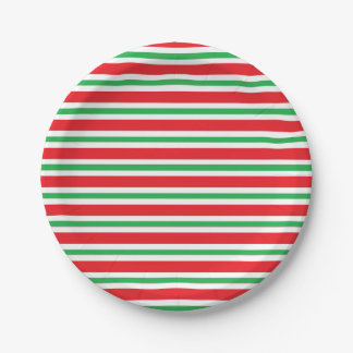 Red, White and Green Thick and Thin Stripes Paper Plate
