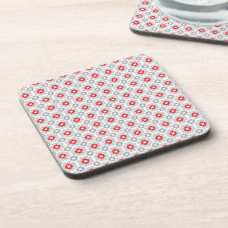 Red White and Grey Flower Love Pattern Beverage Coaster