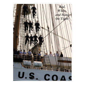 Red White and Hang On Sailors on Tall Ship Postcard