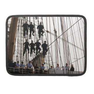 Red White and Hang On Sailors on Tall Ship Sleeves For MacBook Pro