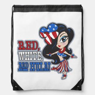 Red, White and Hula Hawaiian Hula Girl Backpack