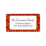 Red White and Orange Star of David Pattern Personalized Address Label