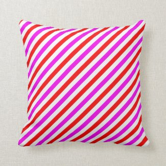 Red, White and Pink Diagonal Striped Throw Pillow