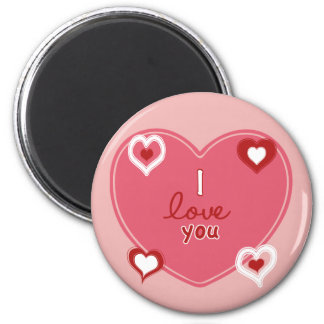 Red, White and Pink Hearts 2 Inch Round Magnet