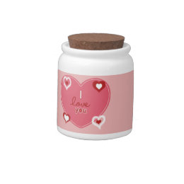 Red, White and Pink Hearts Candy Jar