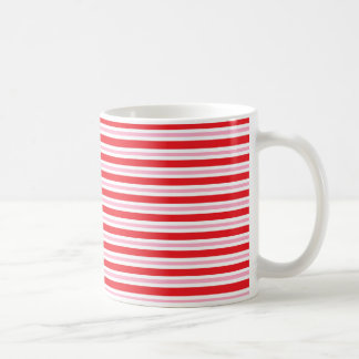 Red, White and Pink Thick and Thin Stripes Coffee Mug