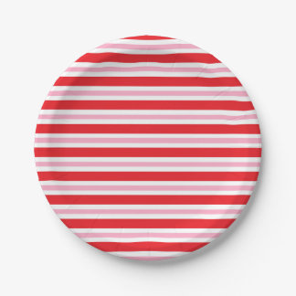 Red, White and Pink Thick and Thin Stripes Paper Plate