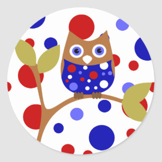 Red, White and Who Owl! Classic Round Sticker