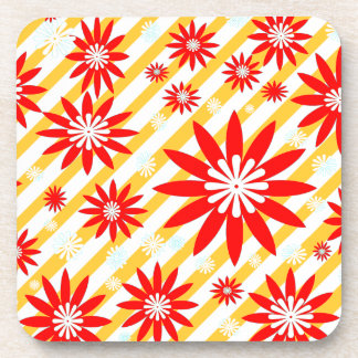 Red White and Yellow Flower Design Coaster