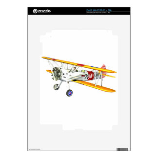 Red White and Yellow Military Training Biplane iPad 2 Decals