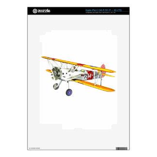 Red White and Yellow Military Training Biplane iPad 3 Decals