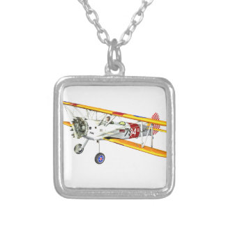 Red White and Yellow Military Training Biplane Square Pendant Necklace
