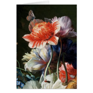 RED WHITE ANEMONES,BUTTERFLY,TULIP Valentine's Day Card