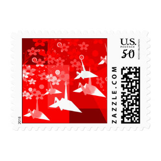 Red & White Asian Design Postage Stamps