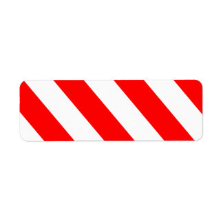 Red White Attention Stripes Label