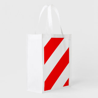 Red White Attention Warning Stripes Reusable Grocery Bag