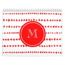 Red White Aztec Arrows Monogram Calendar