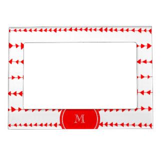 Red White Aztec Arrows Monogram Magnetic Photo Frame