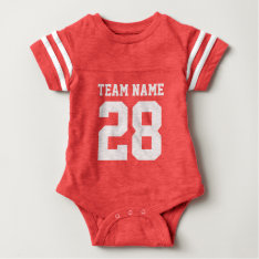 Red White Baby Football Sports Jersey Romper at Zazzle