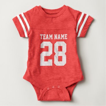 Toddler & Baby themed Red White Baby Football Sports Jersey Romper
