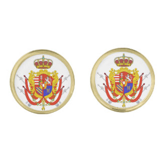 Red White Banner Grand Duchy of Tuscany Gold Cufflinks