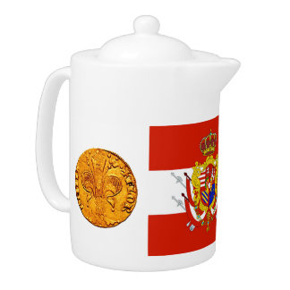 Red White Banner Grand Duchy of Tuscany Teapot