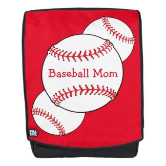 Red White Baseball Mom Sports Boldface Backpack