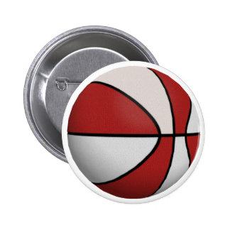 Red & White Basketball: 2 Inch Round Button