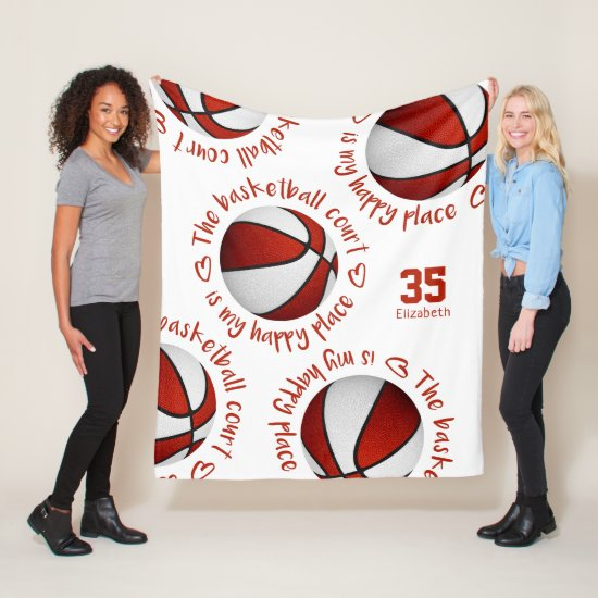 red white basketball court my happy place sports fleece blanket