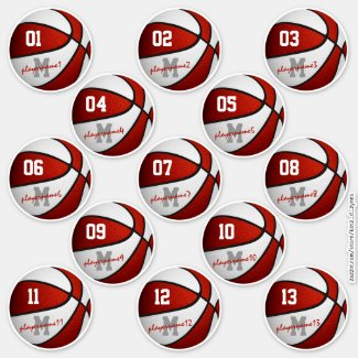 red white basketball custom players names stickers