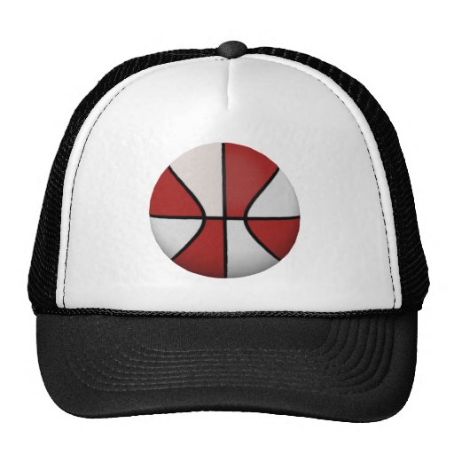Red & White Basketball: Hats